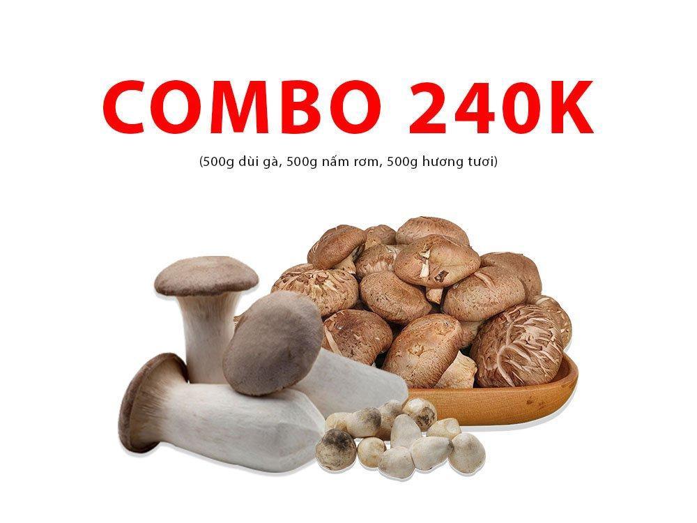 Combo 11 (500g đùi gà, 500g nấm rơm, 500g hương tươi)