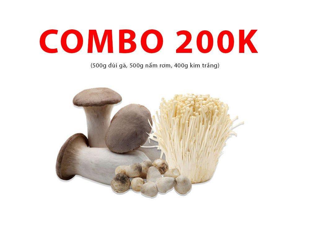 Combo 8 (500g đùi gà, 500g nấm rơm, 400g kim trắng)