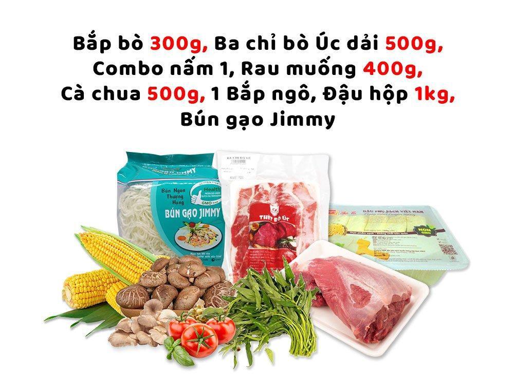 Combo Lẩu 1 (Bắp bò 300g + Ba chỉ bò Úc dải 500g + combo nấm 1 + rau muống 400g + cà chua 500g + 1 bắp ngô  + đậu hộp 1kg + bún gạo Jimmy)