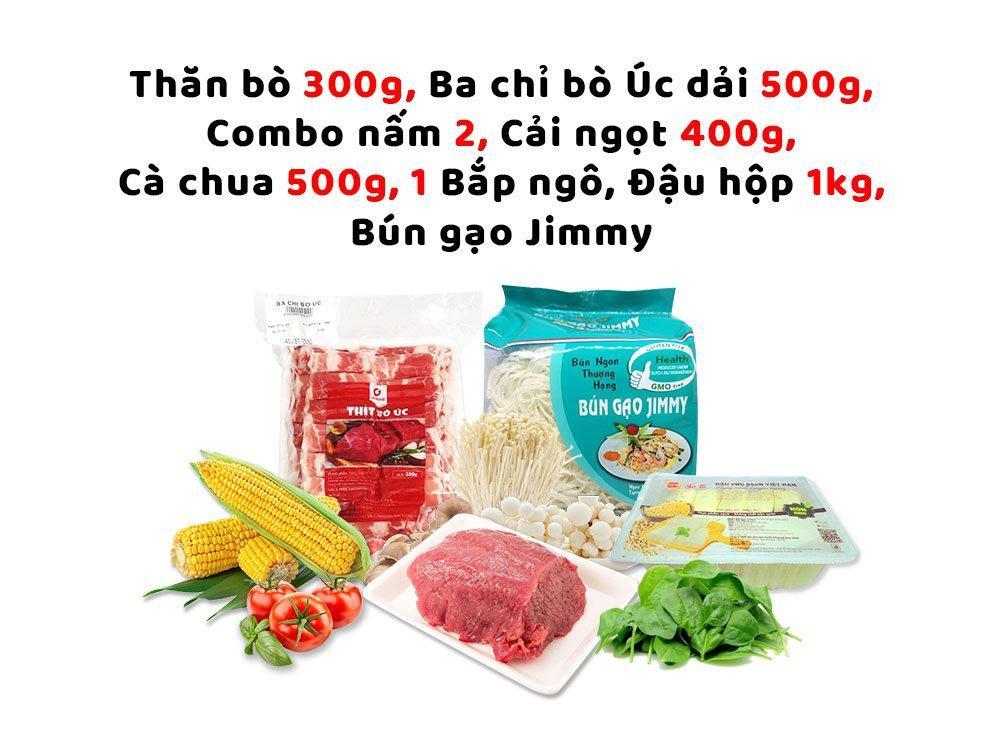 Combo Lẩu 3 (Thăn bò 300g + Ba chỉ bò Úc dải 500g + combo nấm 2 + cải ngọt 400g + cà chua 500g + 1 bắp ngô  + đậu hộp 1kg + bún gạo Jimmy)