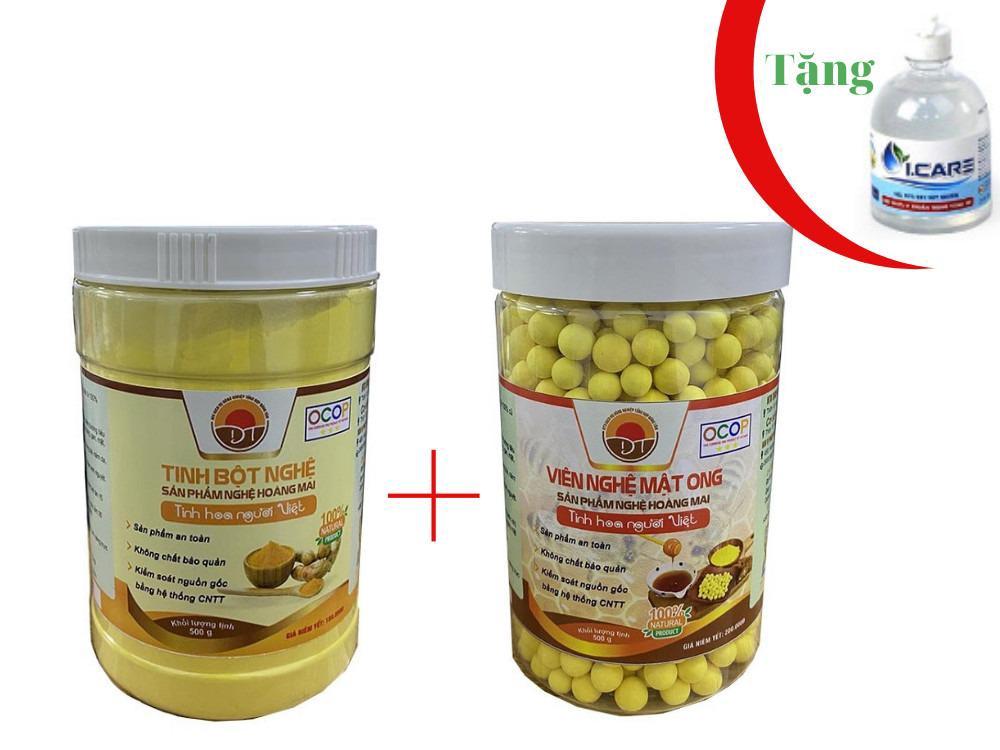 Combo mua 1 Hộp Tinh bột nghệ Hoàng Mai 500g  và 1 Hộp Viên nghệ mật ong Hoàng Mai 500g tặng 1 Chai Gel Rửa Tay Sát Khuẩn Icare  500ml