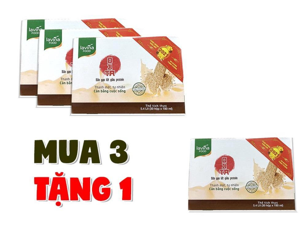 Combo Mua 3 Thùng Tặng 1 Thùng Sữa Gạo Lứt Lavina Food 180ml