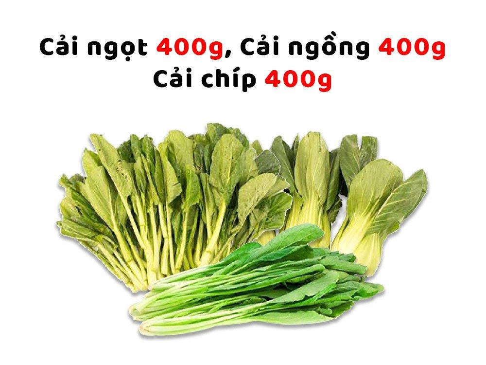 Combo Rau Hải Anh 2 (Cải ngọt 400g + Cải Ngồng 400g + Cải Chíp 400g)