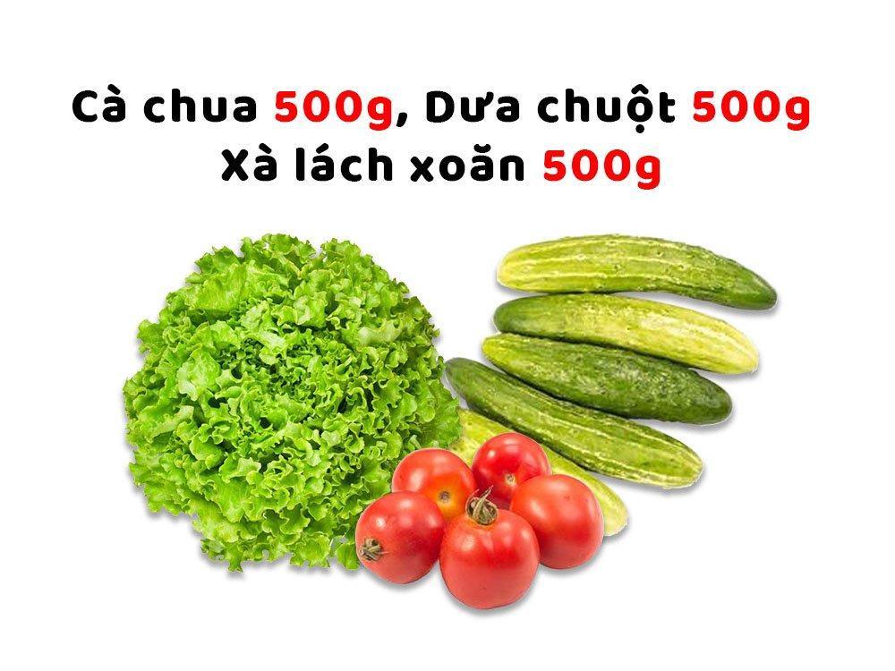 Combo Rau Hải Anh 4 (Cà Chua 500g + Dưa Chuột 500g + Xà Lách Xoăn 500g)