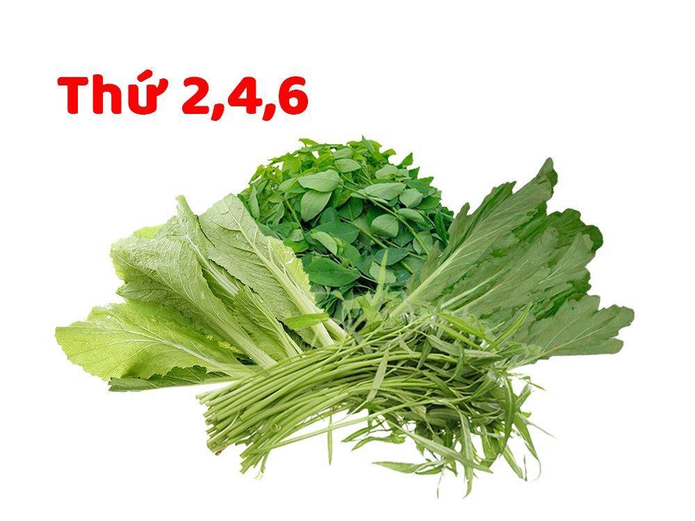 Combo rau hữu cơ 1 (0.5kg Rau muống, 0.5kg Rau ngót, 0.5kg Cải xanh, 0.5kg Cải trắng)