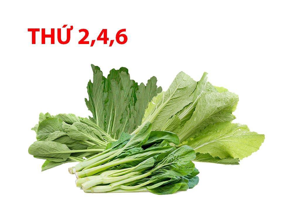 Combo rau hữu cơ 3 (0.5kg Cải ngọt, 0.5kg Cải ngồng, 0.5kg Cải trắng, 0.5kg Cải xanh)