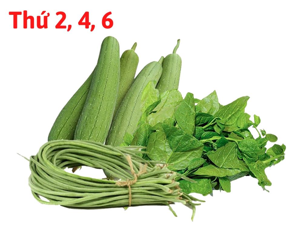 Combo rau hữu cơ 4 (0.5kg Mồng tơi, 0.5kg Mướp, 1kg Đậu đũa)
