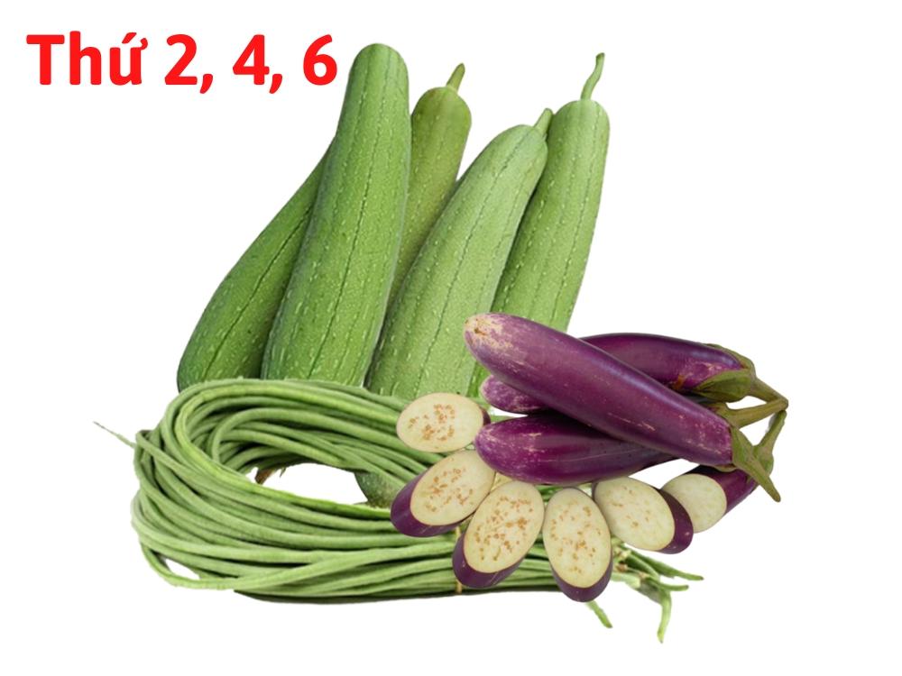 Combo rau hữu cơ 5 (1kg Cà tím, 1kg Mướp, 1kg Đậu đũa)