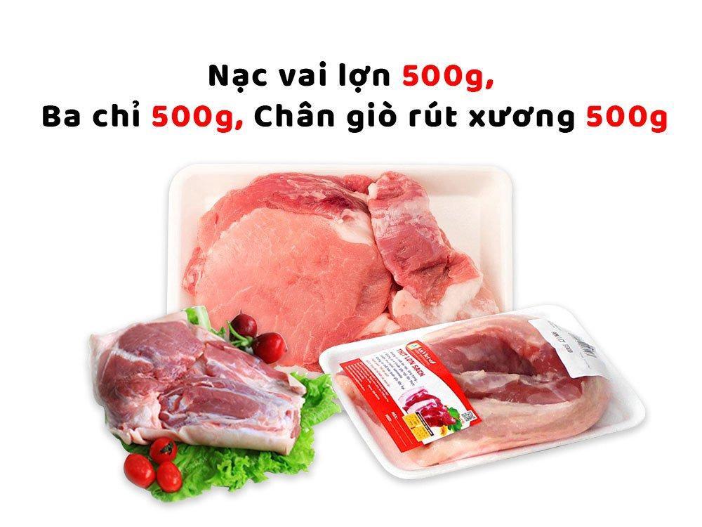 Combo thịt lợn sạch Hạnh Sinh 5 (Nạc vai lợn 500g + Ba chỉ lợn 500g + Thịt chân giò rút xương 500g)