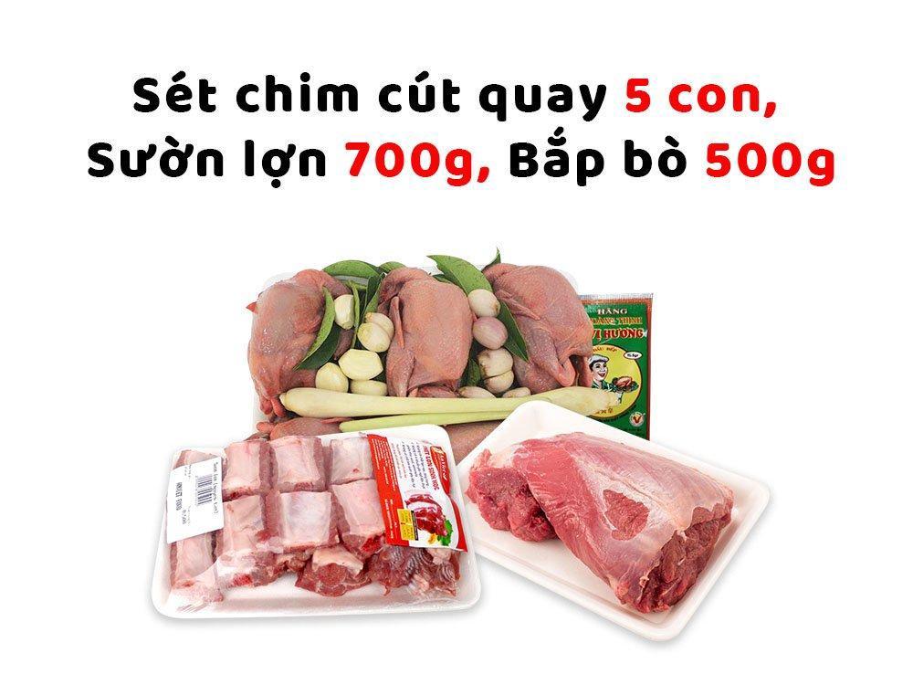 Combo thịt sạch 2 (Set chim cút quay 5 con + Sườn lợn 700g + Bắp bò 500g)