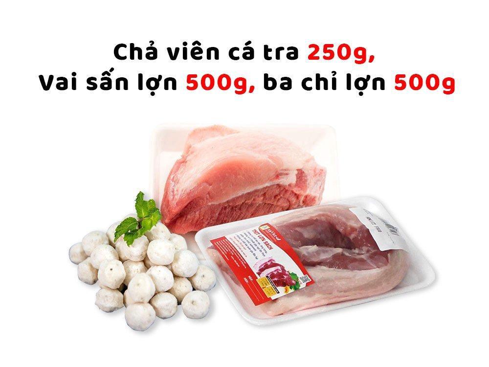 Combo thịt sạch 3 (Chả viên cá tra thì là 250g + Vai sấn lợn 500g + Ba chỉ lợn 500g)
