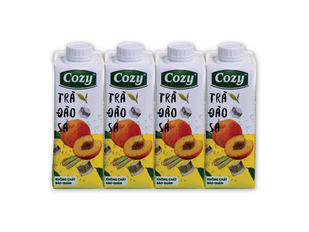 Trà Đào Sả Cozy 225ml * 4 Hộp/Lốc